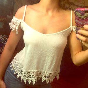 White Lace Trim Blouse